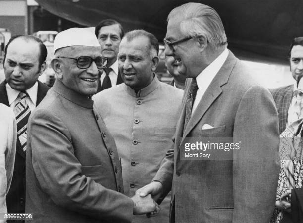 British Prime Minister James Callaghan meets Indian Prime Minister Morarji Desai at Heathrow Airport UK 6th June 1977 Desai is in the UK for a three...