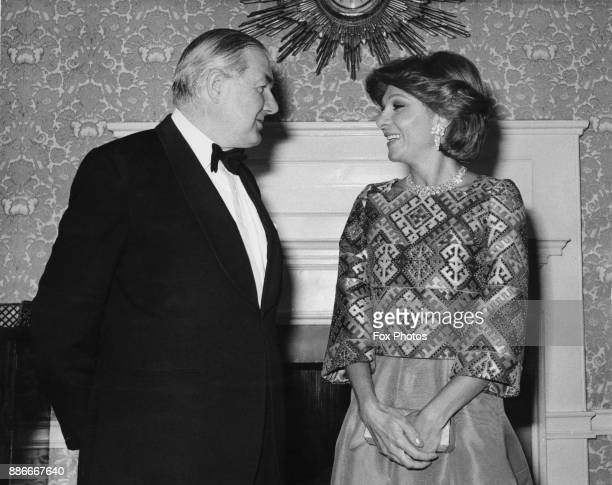 British Prime Minister James Callaghan with Farah Pahlavi the Empress of Iran and wife of Reza Pahlavi who is dining with him at 10 Downing Street...