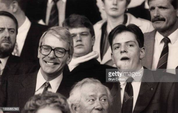British Prime Minister John Major and his son James watching a football match between Norwich City and Manchester United at Carrow Road Norwich 30th...