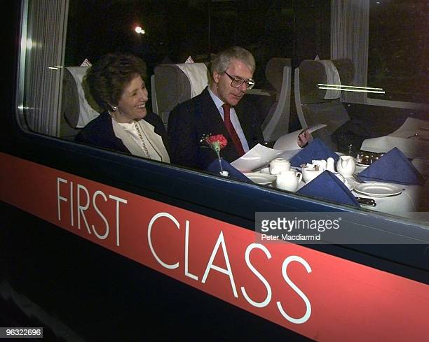 British Prime Minister John Major and his wife Norma on a train at King's Cross Station London bound for Teeside 21st February 1997
