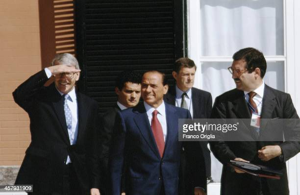 British Prime Minister John Major and Italian Prime Minister Silvio Berlusconi during the G7 Summit at the Royal Palace of Naples, Piazza del...