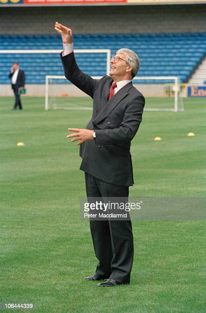 British Prime Minister John Major at an informal cricket match held at The Den, Millwall F.C.'s ground in Bermondsey, London, July 1995.