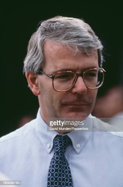 British Prime Minister John Major at the first match to be played at John Paul Getty Jr's new cricket ground on his Wormsley Park estate in...