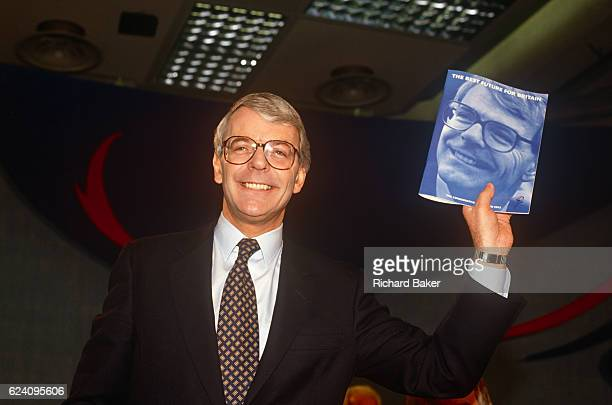 British Prime Minister John Major launches his Conservative party election manifesto on 18th March 1992 in Brighton England Major went on to win the...