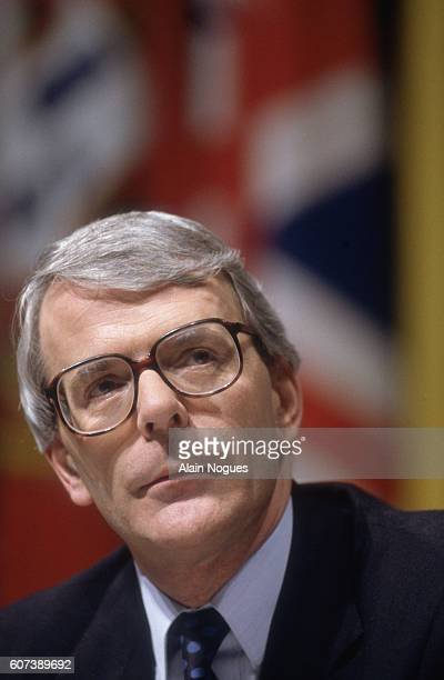 British Prime Minister John Major listens to proceedings during the second day of the Maastricht Summit conference. The summit was held to form a...