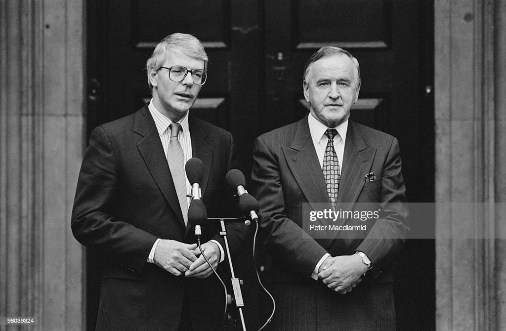 British Prime Minister John Major with Irish Prime Minister Albert Reynolds outside the Admiralty Building in Westminster, London, September 1992.