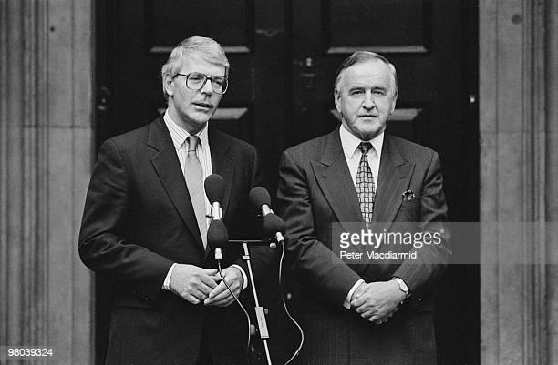 British Prime Minister John Major with Irish Prime Minister Albert Reynolds outside the Admiralty Building in Westminster London September 1992