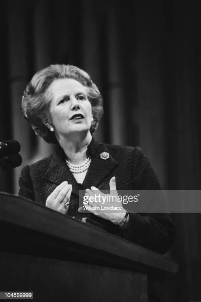 British Prime Minister Margaret Thatcher addressing the Conservative Party on May 22, 1985.