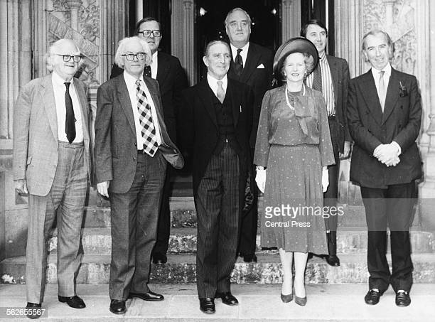 British Prime Minister Margaret Thatcher and a group of politicians arriving at Clarence House to wish the Queen Mother a happy Birthday John Parker...