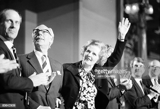 British prime minister Margaret Thatcher and Conservative party chairman Norman Tebbit at the Conservative Party Conference in Blackpool October 1985...