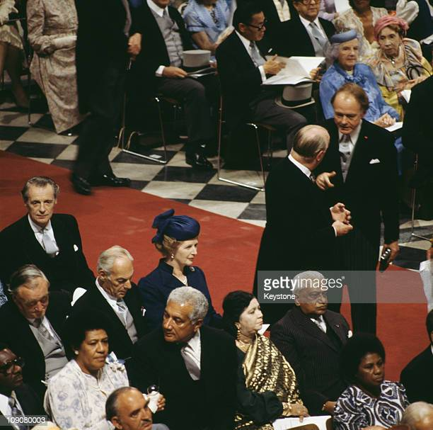 British Prime Minister Margaret Thatcher and Denis Thatcher at St Paul's Cathedral during the wedding of Charles Prince of Wales and Lady Diana...