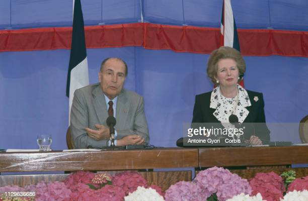 British Prime Minister Margaret Thatcher and French President Francois Mitterrand hold a FrancoBritish summit at Waddesdon Manor in England