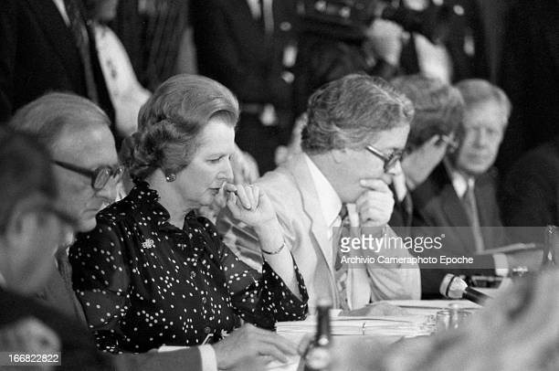 British Prime Minister Margaret Thatcher and Geoffrey Howe attend the 1980 G7 Summit on June 22 San Giorgio Island Venice Italy
