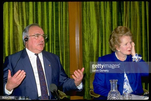 British Prime Minister Margaret Thatcher and German Chancellor Helmut Kohl at press conference