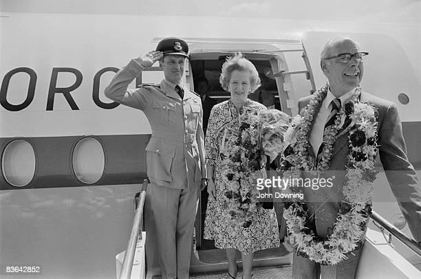 British prime minister Margaret Thatcher and her husband Denis arrive in India for an official visit April 1981