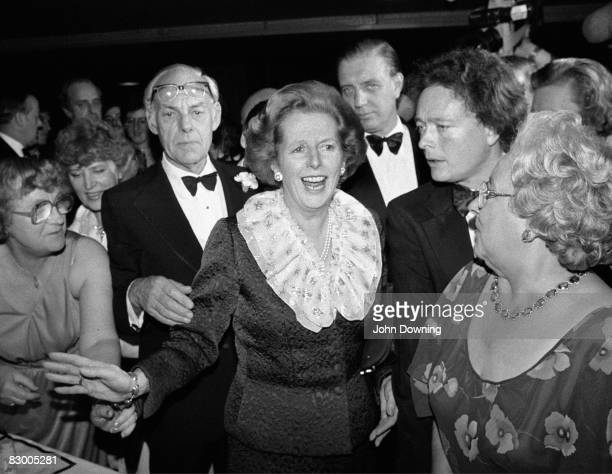 British Prime Minister Margaret Thatcher and her husband Denis attend a ball during the Conservative Party Conference in Brighton 11th October 1984...