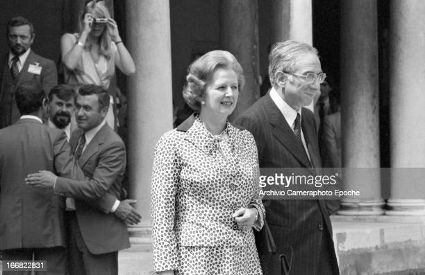 British Prime Minister Margaret Thatcher and Lord Carrington attend the 1980 G7 Summit on June 22 San Giorgio Island Venice Italy