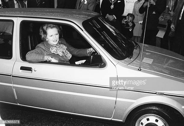 British Prime Minister Margaret Thatcher arriving in her Mini Metro car to open the Intentional Motor Show Birmingham England October 17th 1980