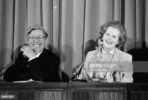 British prime minister Margaret Thatcher at a press conference in Millbank Tower with Helmut Schmidt, the West German Chancellor, 11th May 1979.