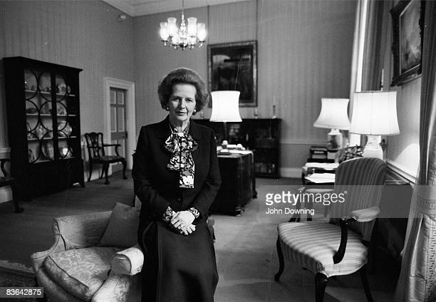 British prime minister Margaret Thatcher at Number 10, Downing Street, circa 1985.