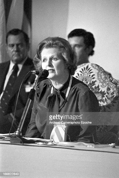 British Prime Minister Margaret Thatcher attends the 1980 G7 Summit on June 22 San Giorgio Island Venice Italy