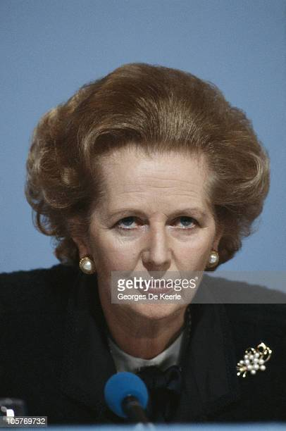 British Prime Minister Margaret Thatcher campaigning for the Conservative party on the eve of the UK general election 10th June 1987