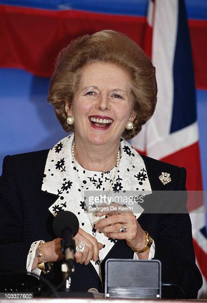 British Prime Minister Margaret Thatcher during a BritishFrench meeting with President Francois Mitterrand in the UK 5th May 1990