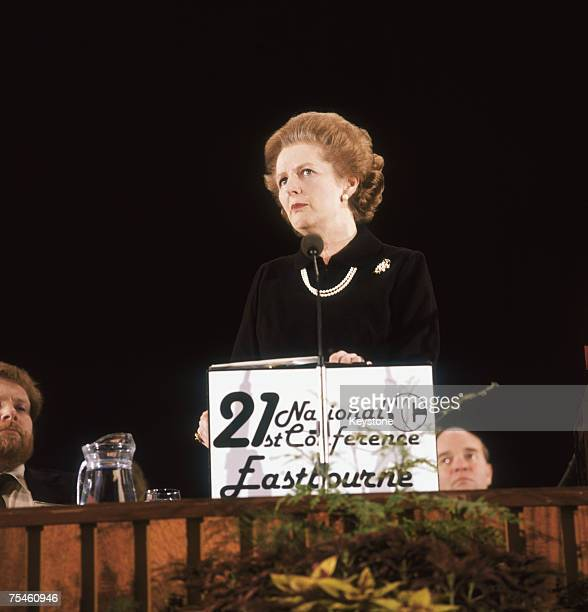 British Prime Minister Margaret Thatcher gives a speech to the Young Conservative Conference at the Congress Theatre Eastbourne 14th February 1981
