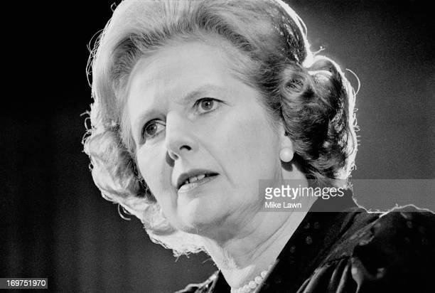 British Prime Minister Margaret Thatcher giving a speech 22nd May 1980.