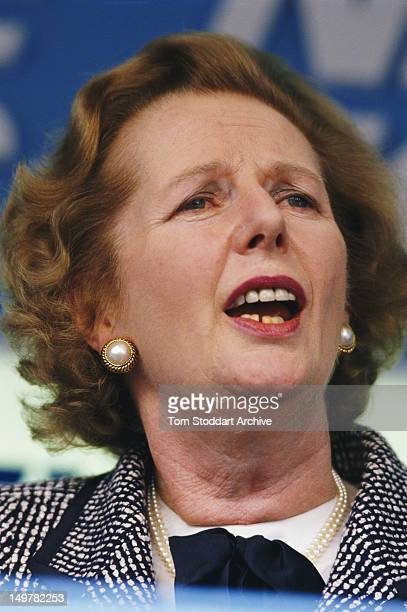 British Prime Minister Margaret Thatcher giving a speech during the UK general election campaign May 1987