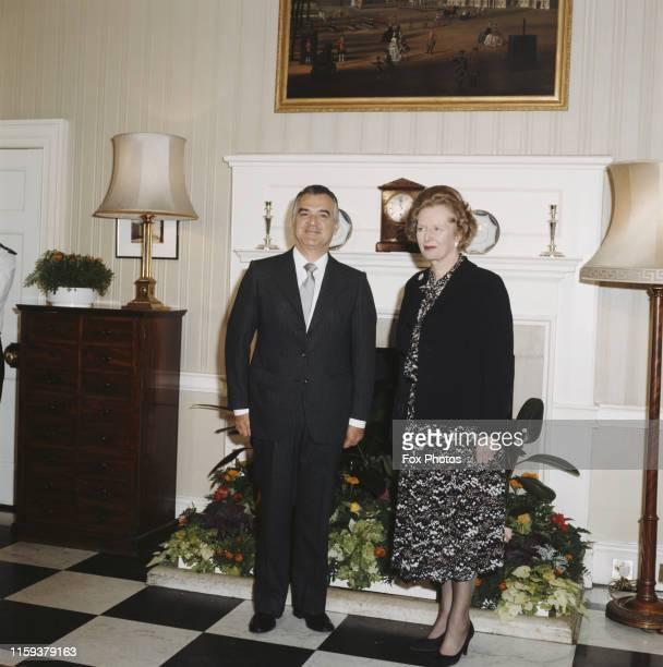 British Prime Minister Margaret Thatcher greets Miguel de la Madrid the President of Mexico at 10 Downing Street in London 12th June 1985