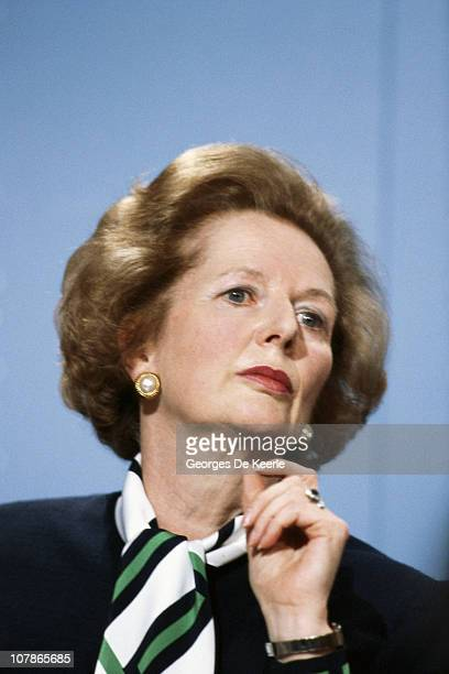 British Prime Minister Margaret Thatcher holds a press conference during the Electoral Campaign Opening in London 19th May 1987