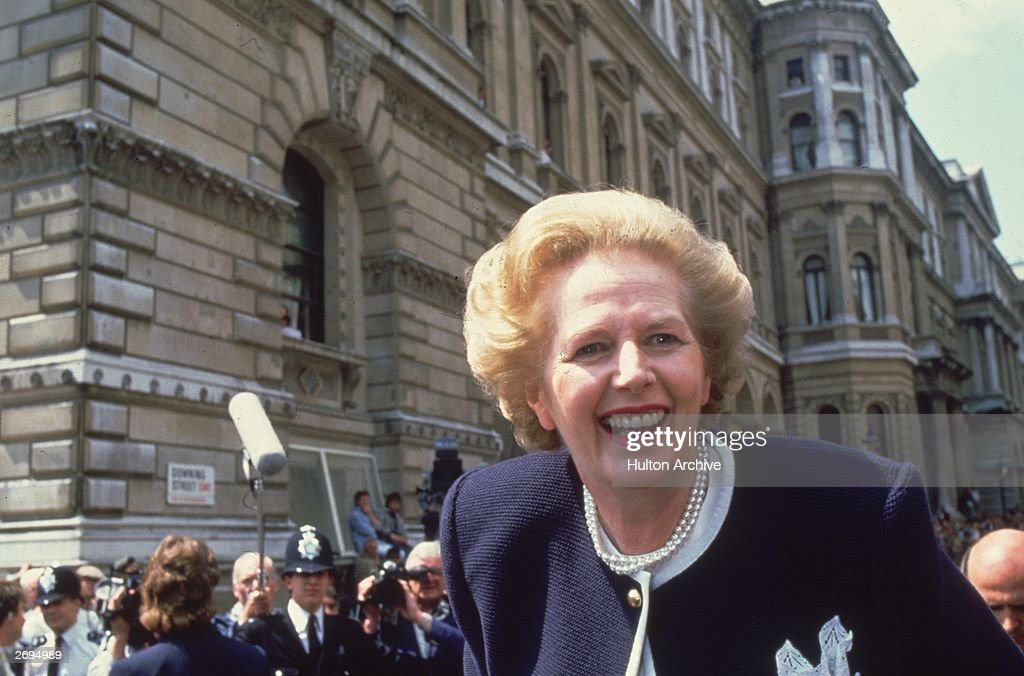 British prime minister Margaret Thatcher in Downing Street, London, at the start of her third term in office.