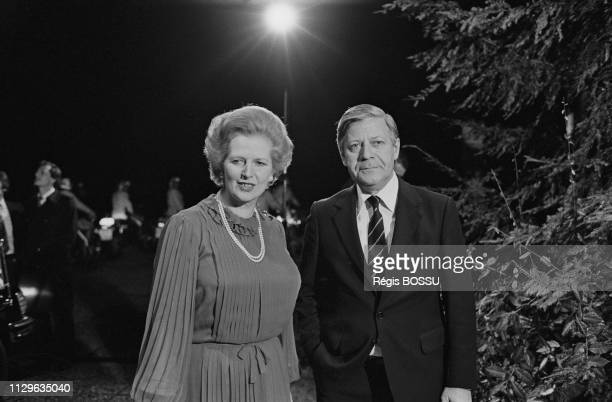 British Prime Minister Margaret Thatcher is welcomed in Bonn by Chancellor of Germany Helmut Schmidt