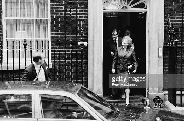 British Prime Minister Margaret Thatcher leaves 10 Downing Street 13th February 1990