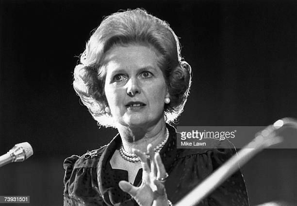 British Prime Minister Margaret Thatcher making a speech 22nd May 1980.