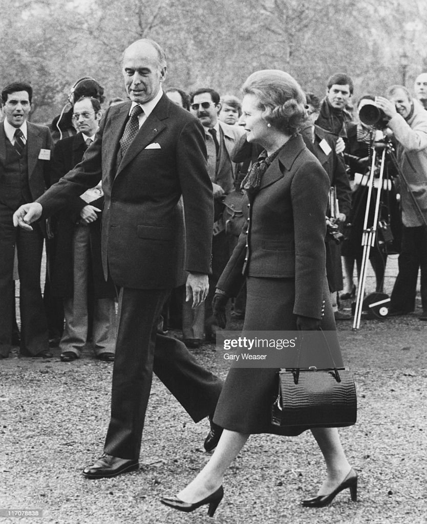 British Prime Minister Margaret Thatcher meets French President Valery Giscard d'Estaing upon his arrival in London by helicopter, 19th November 1979. He is in London for two days of talks with Thatcher.