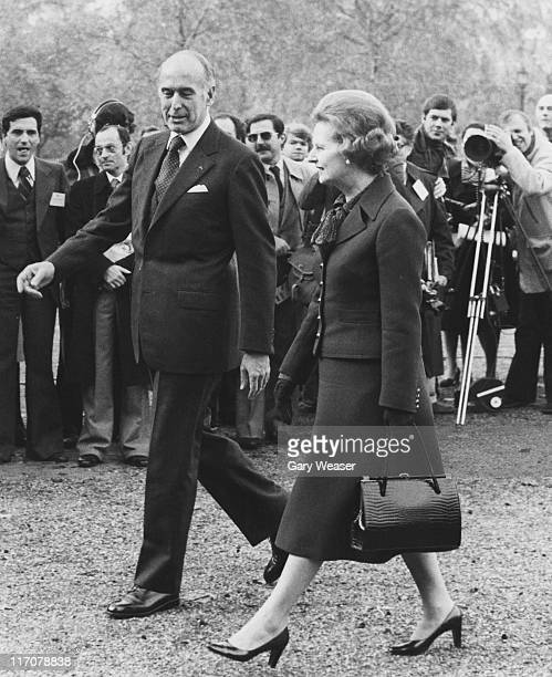 British Prime Minister Margaret Thatcher meets French President Valery Giscard d'Estaing upon his arrival in London by helicopter 19th November 1979...