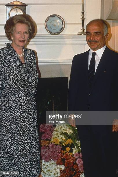 British Prime Minister Margaret Thatcher meets King Hussein of Jordan at 10 Downing Street in London England on July 13 1987