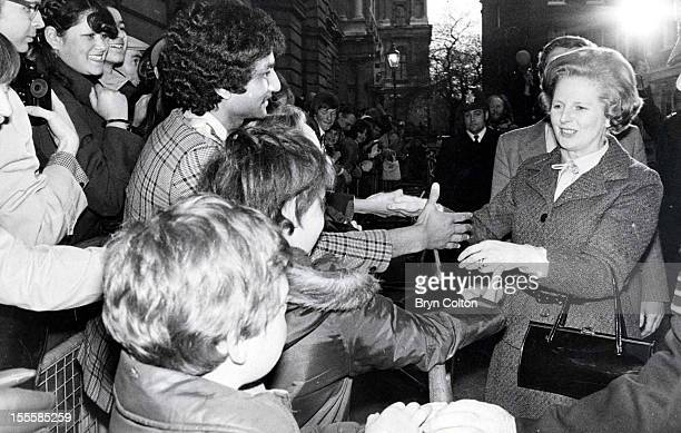 British Prime Minister Margaret Thatcher meets wellwishers gathered in Downing Street to celebrate her general election victory London 6th May 1979...