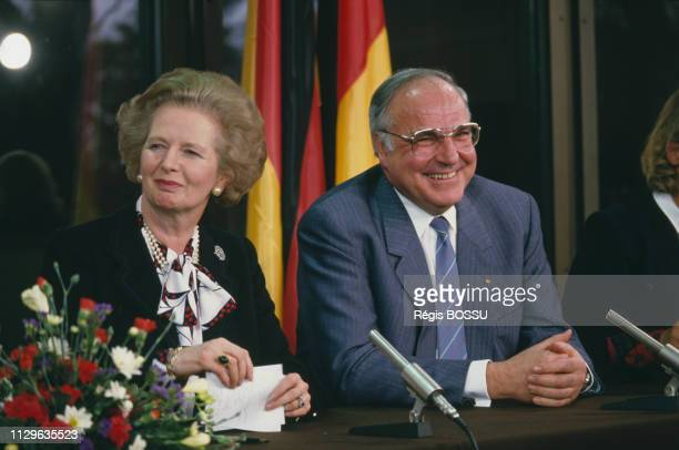 British Prime Minister Margaret Thatcher meets with German Chancellor Helmut Kohl during her official visit to FRG