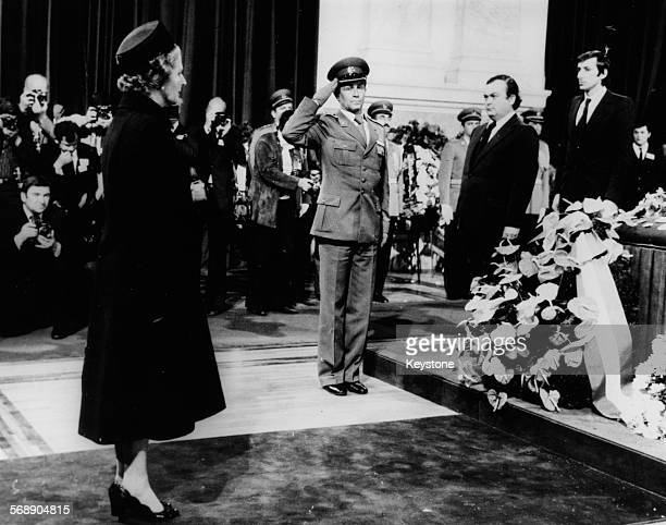 British Prime Minister Margaret Thatcher paying her respects to President Josip Broz Tito of Yugoslavia as he lies in state, May 1980.