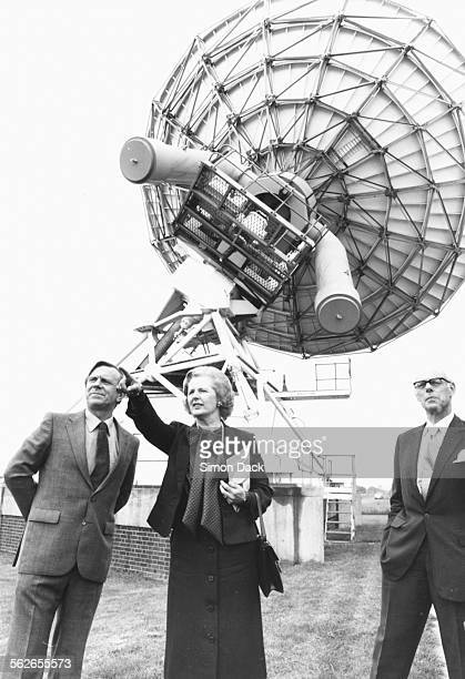 British Prime Minister Margaret Thatcher pointing something out to Dr John E Baldwin Senior Radio Astronomer in front of a 5km telescope at the...
