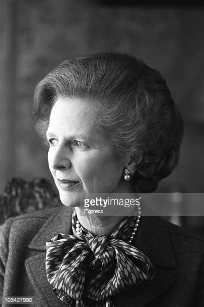 British Prime Minister Margaret Thatcher poses inside Number 10 Downing Street in London England on April 01 1984