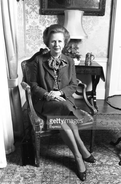 British Prime Minister Margaret Thatcher poses inside Number 10 Downing Street in London, England on April 01, 1984.
