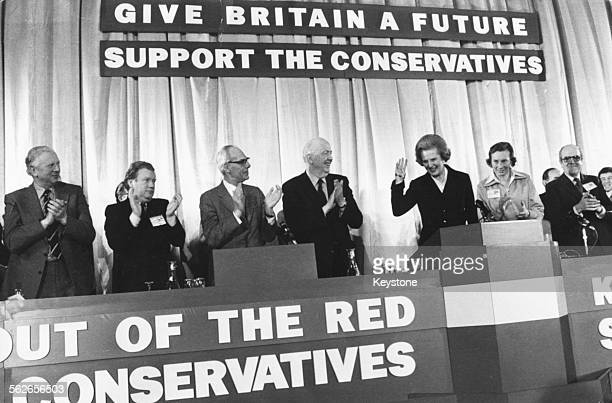 British Prime Minister Margaret Thatcher receiving a standing ovation from the other politicians at the Conservative Party Conference in Bournemouth...
