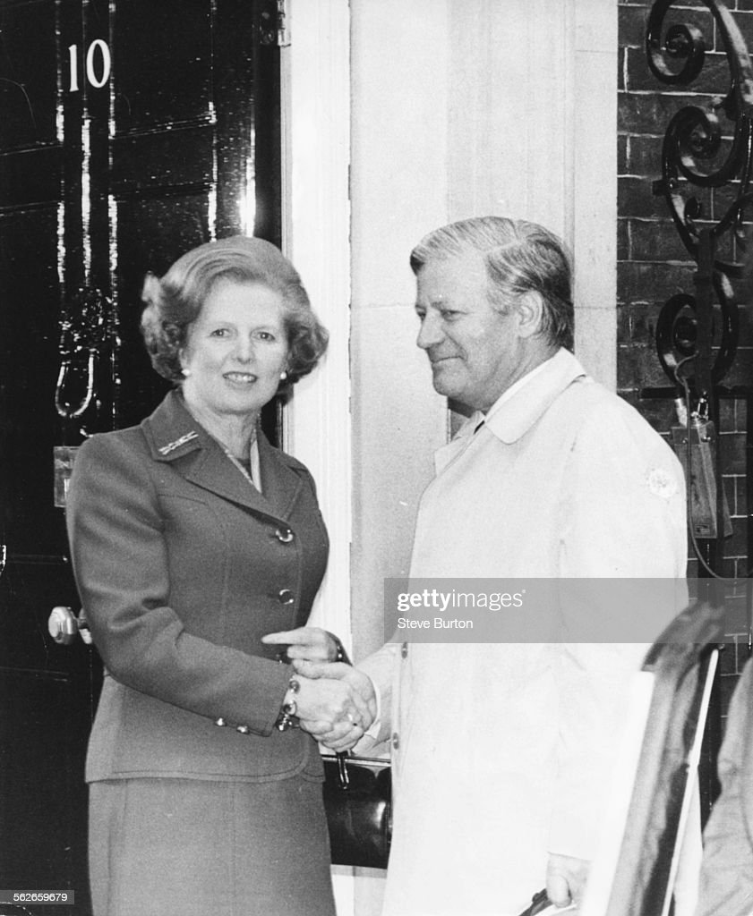 British Prime Minister Margaret Thatcher shaking hands with West German Chancellor Helmut Schmidt outside 10 Downing Street, London, May 10th 1979.