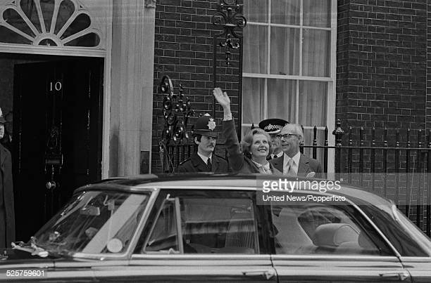 British Prime Minister Margaret Thatcher waves to crowds outside 10 Downing Street the morning after winning the United Kingdom general election...