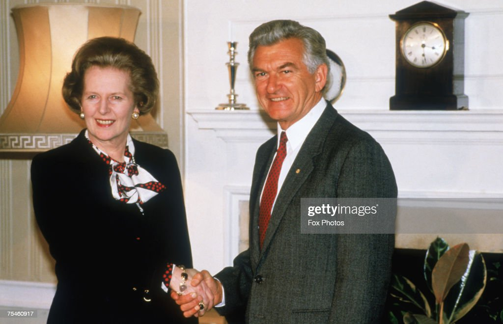 British Prime Minister Margaret Thatcher with Australian Prime Minister Bob Hawke at 10 Downing Street, London, 1986.