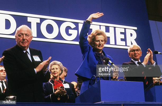 British Prime Minister Margaret Thatcher with Chairman of the Conservative Party Lord Peter Thorneycroft at the party conference in Brighton 1980